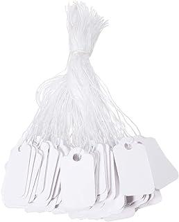 SUPVOX Etiquetas de Marcas de Regalo de Papel Blanco Etiquetas de Precio de Joyería con Hilo Etiquetas de Ropa, 500 Piezas