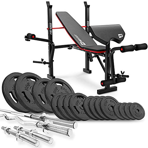 Hop-Sport Weight Bench 1055 with curl pad, butterfly and leg curler + Cast Iron Barbell Set 76 kg - 146 kg with Barbell Bar- Home Gym Equipment for Bodybuilding, Weight Loss (106 kg)