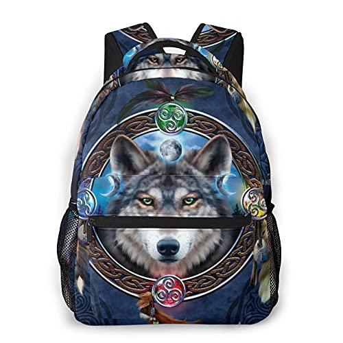 Nongmei Mochila para portátil de viaje,guía de lobo celta,mochila antirrobo resistente al agua para empresas,delgada y duradera