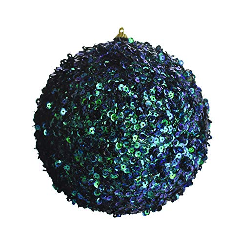 Homeford Sequined Ball Christmas Ornament, Peacock, 6-Inch