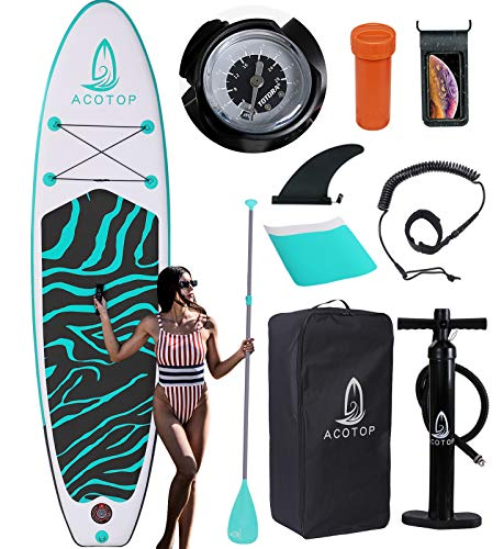 Inflatable Paddle Board, 10'6'x33'x6' Stand Up Paddle Board, Durable SUP Accessories, Manual Pump, Bottom Fin, 3-Piece Aluminum Paddle, Non-Slip Deck Waterproof Bag Paddle Board for Adults