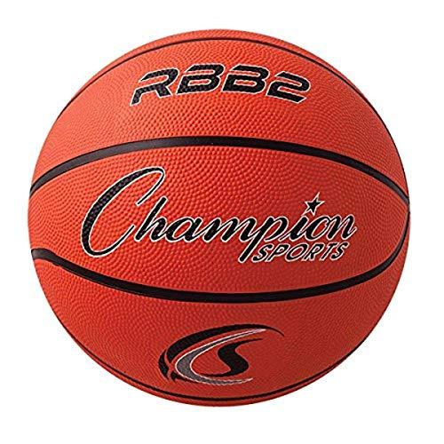 "Champion Sports Official Heavy Duty Rubber Cover Nylon Basketballs, Junior (Size 5 - 27.5""), Orange"