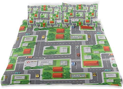 Bettwäscheset Vogelperspektive Karte der abstrakten Straßen der Stadt Straßen Häuser und Autos Dekoratives 3-teiliges Bettwäscheset in doppelter Größe mit 2 Kissenbezügen Pflegeleicht, antiallergisch,
