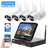 [8CH, Expandable] All in one with 10.1' Monitor Wireless Security Camera System, Cromorc Home Business CCTV Surveillance 8CH 1080P NVR, 4pcs 960P Indoor Outdoor Night Vision Camera, 1TB Hard Drive