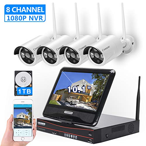 [8CH, Expandable] All in one with 10.1' Monitor Wireless Security Camera System, Cromorc Home Business CCTV Surveillance 1080P NVR Kit, 4pcs 960P Indoor Outdoor Night Vision IP Camera, 1TB Hard Drive
