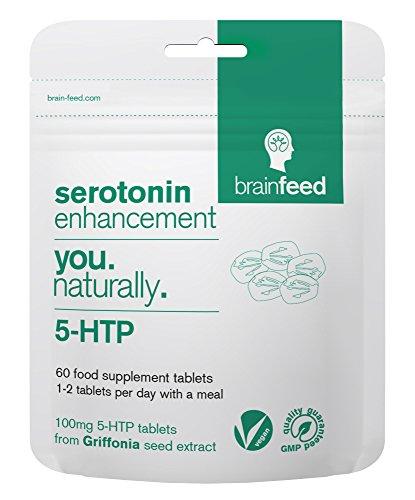 brain feed de alta Resistencia 5htp Tabletas |100mg 5htp por tablet|60 Tabletas- 1 por día|Aumentador de Serotonina|1200mg extracto semilla Griffonia|Mejorar el estado de ánimo| Reino Unido Fabricado