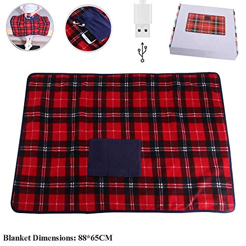 Portable USB Lap Heated Throw Blanket, Winter Warming...