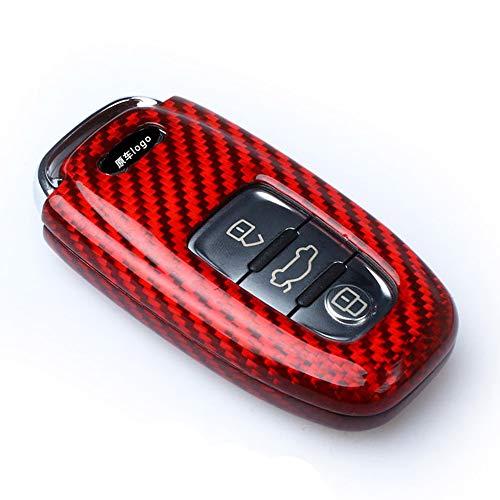 『アウディ リアルカーボン製 高級スマートキーケース キーカバー TT R8 A3 S3 A4 8K A5 8T S5 A6 S6 C7系 A7 S7 A8 Q5 SQ5 Q7(赤)』の5枚目の画像