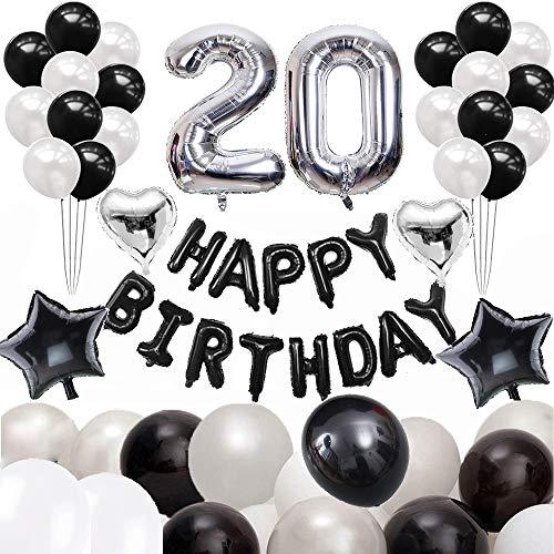 JinSu 20 Ans Anniversaire Ballons Décorations pour Garçon Homme, 60 Pcs Kit Happy Birthday Bannière Noir, Argenté Ballon Numéro 20, 4 Ballon Aluminium Helium, Ballons en Latex