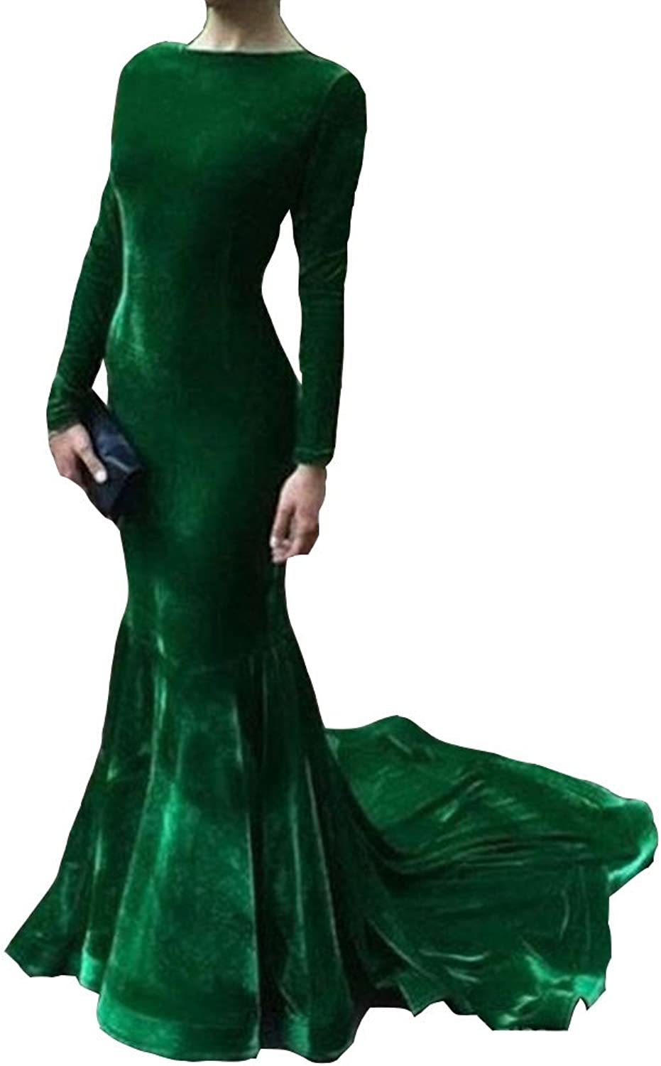 Ai Maria Women's Elegant Long Sleeve Evening Dresses Velvet Mermaid Party Dress