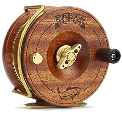 PEETZ Fly Reel, 3.5-Inch 'Classic' Action - Skye Burkhardt Signature Edition | Handcrafted | Mahogany Wood & Brass | Nottingham Style