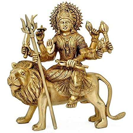 The Himalayan Collections HC- Astadhatu (8 Metals) Made Shri Durga Idol/Shri Ambe Maa Brass Idol/Shri Vaishno Devi Idol/Sherawali MATA Idol/Durga MATA Brass Idol/Durga MATA Puja Idol (4)
