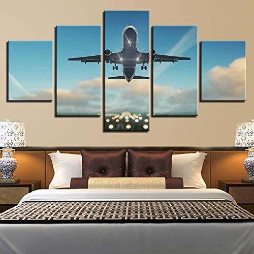 FKHLJ Wooncultuur canvas schilderkunst muurkunst 5 stuks vliegtuig vliegen in sky afbeeldingen modulaire Hd Prints Cloud Landschap Poster 30x40 30x60 30x80cm Geen lijst