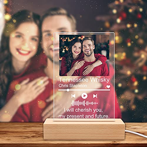 Placa Spotify Personalizada Luz De Noche,Escaneable Cuadro Spotify Glass ligero Personalizado,Acrílico Placa De Musica Personalizada Para Decoración De Habitaciones,Regalos Del Día De La Madre