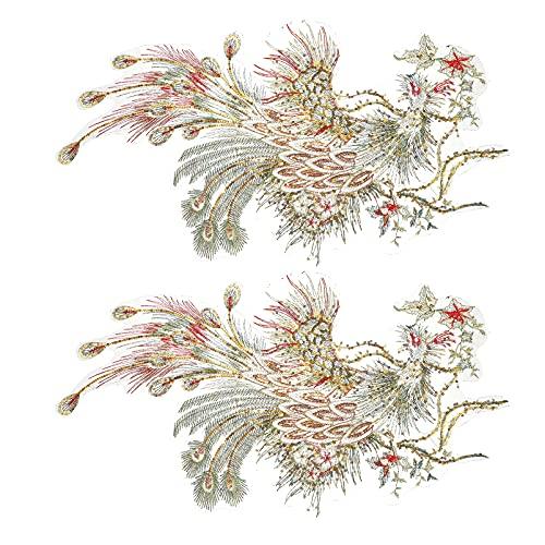 VICASKY 2 Piezas Elegante Pavo Real Hierro en Parches Decorativos de Estilo Chino Pájaro Apliques Parches de Tela Animal Coser en Apliques Parches Bordados para DIY Arte Proyectos de