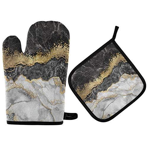 Marmor Goldfolie Steinofen Handschuhe Topflappen Extrem hitzebeständige weiche Ofenhandschuhe und Topflappen Ofenhandschuhe Set für die Küche zu Hause