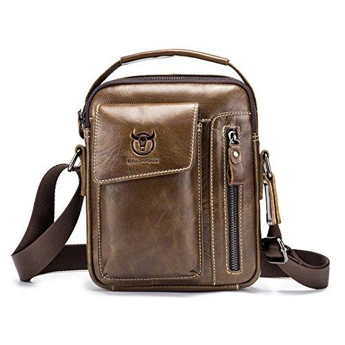 Yimidear Herren Tasche Kleine Leder Schultertasche Umhängetasche Handtasche Messenger bag mit Top Griff für Business Casual Sport Wandern (Braun)