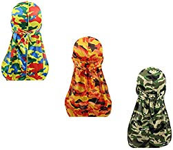 Silky Durags for Men Women 360 Waves Doo Rag Headwrap Cap?3/4 pack?, A5-camo Silky-3 Packed, Medium