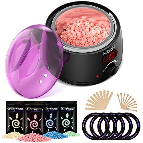Wachswärmer, professionelles Wachsentfernungsset für die Haarentfernung zu Hause mit Digitalanzeige,4x100g Hartwachs Bohnen, Wachsmaschine für Ganzkörper/Beine/Gesicht, geeignet für Frauen/Männer