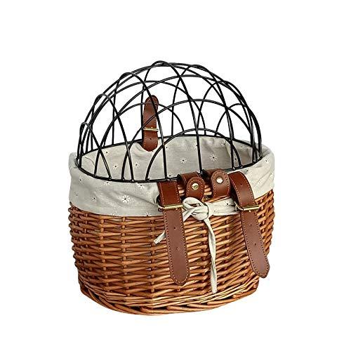 ISAKEN Cesta de mimbre para gatos, pequeña cesta para manillar de bicicleta con cubierta, desmontable multifunción cesta de almacenamiento frontal cesta de la compra