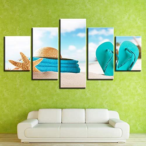 GUDOJK Leinwand Gemälde Wandkunst HD Drucke Bilder 5 Stücke Starfish Poster Modulare Sommer Strand Strohhut Flip-Flops Home Decor 30x40 30x6030x80