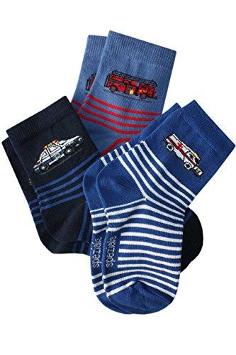 Weri Spezials 3-er Set Kindersocken Schnelle Truppe im Einsatz in Marine, Jeans, Kornblau, Kornblau, 23-26 (3-4 Jahre)