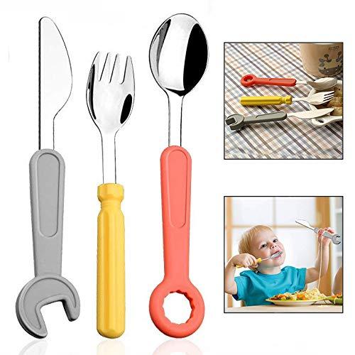 LHKJ Set de Cubiertos Infantiles con Cuchillo, Tenedor, cuchar para bebés o niños