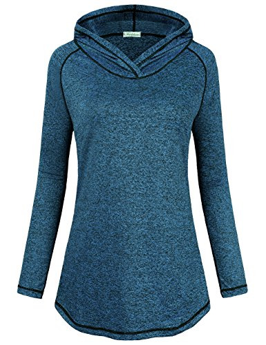 Faddare Pullover Sweatshirts for Women Active, Womens Yoga Seamless Long Sleeve Tunic Casual Curve Bottom Stretchy Lightweight Tees Tops Active Hoody Shirt,Blue S