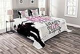ABAKUHAUS Eiffelturm Tagesdecke Set, Paris Mädchen Wörter, Set mit Kissenbezügen Klare Farben, für Doppelbetten 220 x 220 cm, Schwarz Rosa