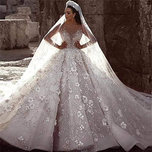 QING XIN-1225 Wedding Dress,Prom Dresses Rebordeó la Novia de la Boda Floral 3D Vestido de Encaje de Manga Larga Vestidos de Novia árabe de Lujo Evening Dresses (Color : Ivory, US Size : 6)