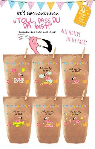 6x bunte FLAMINGO PARTY Geschenktüten - Tüten liebevoll bedruckt aus Kraftpapier, zum Verpacken von Geschenken, Gastgeschenken, Mitgebsel, Giveaways, Kindergeburtstag, Hochzeit. 100% recyclebar!