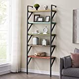 HOMYSHOPY Industrial Ladder Shelf Against The Wall, 5-Tier Multifunctional Storage Rack Bookcase, Multicolor Floating Bookshelf for Kids Office Kitchen - 31.5 Inches