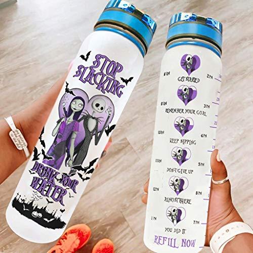LAOAYI Botella de agua deportiva grande para Halloween, a prueba de fugas, botella de gimnasia para senderismo, camping, color blanco, 1000 ml