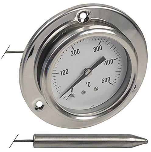 Thermometer inbouw 60 mm sensor 10 x 63 mm capillaire buislengte 1.000 mm max. Temperatuur 500 °C meetbereik 0 tot +500 °C + 500 °C.