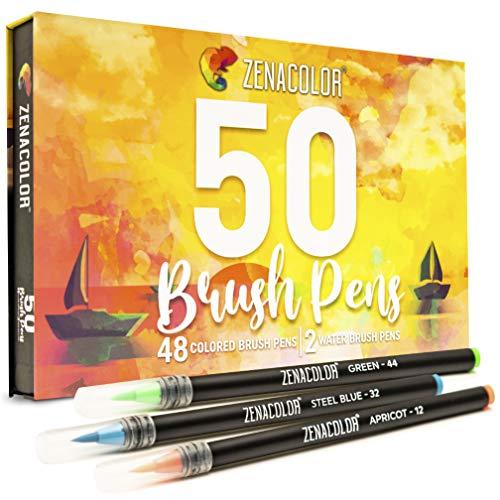Watercolor Brush Pens - 48 Watercolor Paintbrush Tip Markers + Water Brush Pens - Vibrant Colors - Artists & Beginner Watercolor Supplies for Calligraphy, Bullet Journals, Coloring, Drawing