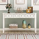 """60"""" Long Console Table Sofa Table with Storage 4 Drawers and Bottom Shelf for Entryway (Antique White)"""
