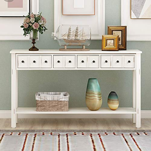 Console Table Rustic Entryway Table 60' Long Sofa Table with 4 Drawers in Two Different Size and Bottom Shelf for Storage (Antique White)