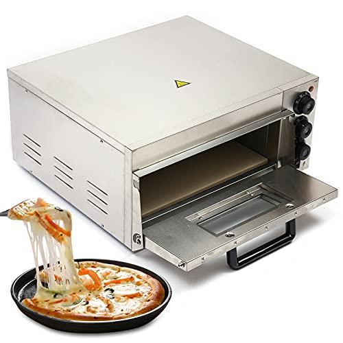 Pizzaofen Pizza Backofen Pizzabackofen Pizzaofen, Kommerzieller Brotbackofen Gastronomie Edelstahl, für 12-14 zoll 2000W, 1 Kammern