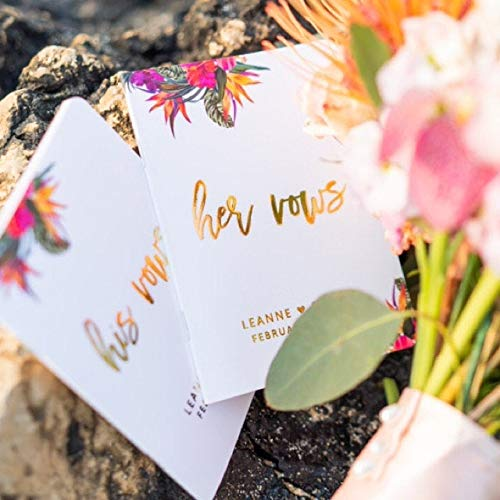 Tropical Wedding Vow Books Personalized, Set of 2 Vow Books