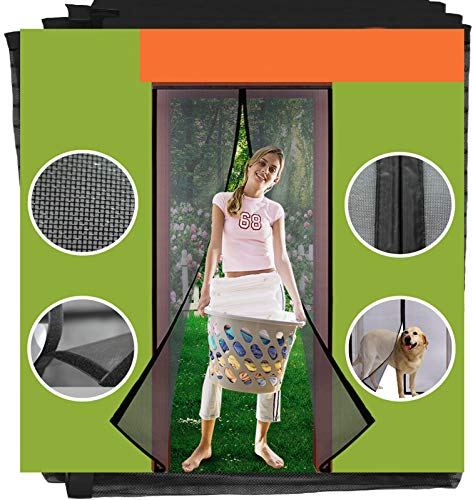 Homearda Magnetic Screen Door Fiberglass-New Upgraded Magnets& Strengthen Top Never Ripped-Durable Fiberglass Mesh Curtain with Weights in Bottom-Full Frame Magic Seal. Fits Door Up to 34x82 inch