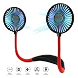 Neck Fan Rechargeable Personal Fan Portable Hands Free Hanging USB Fan with 3 Speeds Adjustable, Neckband Fan with LED Lights Headphone Design Mini Fan for Sport/Office/Home/Outdoor/Travel (black)