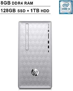 HP 2019 Pavilion 590 Desktop (Intel Quad Core i3-8100 3.6 GHz, 8GB DDR4 RAM, 128GB SSD (Boot) + 1TB HDD SSD, Intel UHD Graphics 630, Bluetooth, HDMI, DVD, Windows 10 Home) (Renewed)