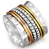 Boho-Magic 925 Sterling Silver Spinner Ring with Brass and Copper Fidget Rings for Women Wide Band (9)