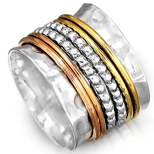 Boho-Magic 925 Sterling Silver Spinner Ring with Brass and Copper Fidget Rings for Women Wide Band (6)