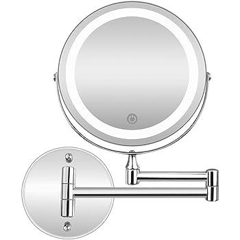 BRIGHTINW 両面化粧鏡 壁付け 直径17cm「LEDライト付き 明るさ調節可能 折りたたみ 5倍拡大鏡+等倍 360度回転 伸縮可能」壁付けミラー 洋式アームミラー メイク道具 洗面所に取り付け 取扱説明書付き