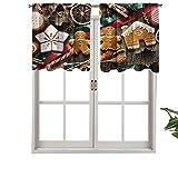 Cortina opaca para ventana con bolsillo para barra, cenefa, deliciosas galletas caseras, frutas secas, herramientas de panadería, set de 2, 137 x 91 cm para sala de estar, cortina corta recta