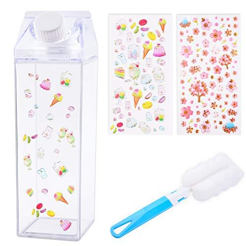 WXJ13 - Borraccia per latte, in plastica, 500 ml, portatile, con simpatica tazza con 2 adesivi e spazzola per tazze, per sport all'aria aperta, viaggi, campeggio, attività