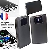 PRISKY Chargeur/Batterie Externe DE Secours 2USB 12000mAh Gris/Silver- pour Sony Xperia Z1 Compact