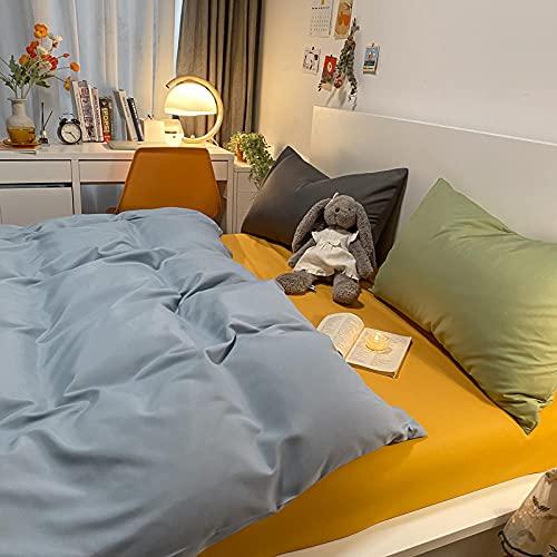Traje de Cuatro Piezas de Contraste de Color Puro con Funda de Almohada Cama de Viento Simple Duvet Funda Dormitorio Estudiante-Gris Azul Claro + Mostaza Amarillo_180 * 220m