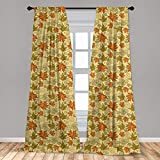 Lunarable Autumn Fall Window Curtains, Grunge Maple Leaves with Seasonal Colors Thanksgiving Themed Drawing Style, Lightweight Decorative Panels Set of 2 with Rod Pocket, 56' x 84', Orange Green